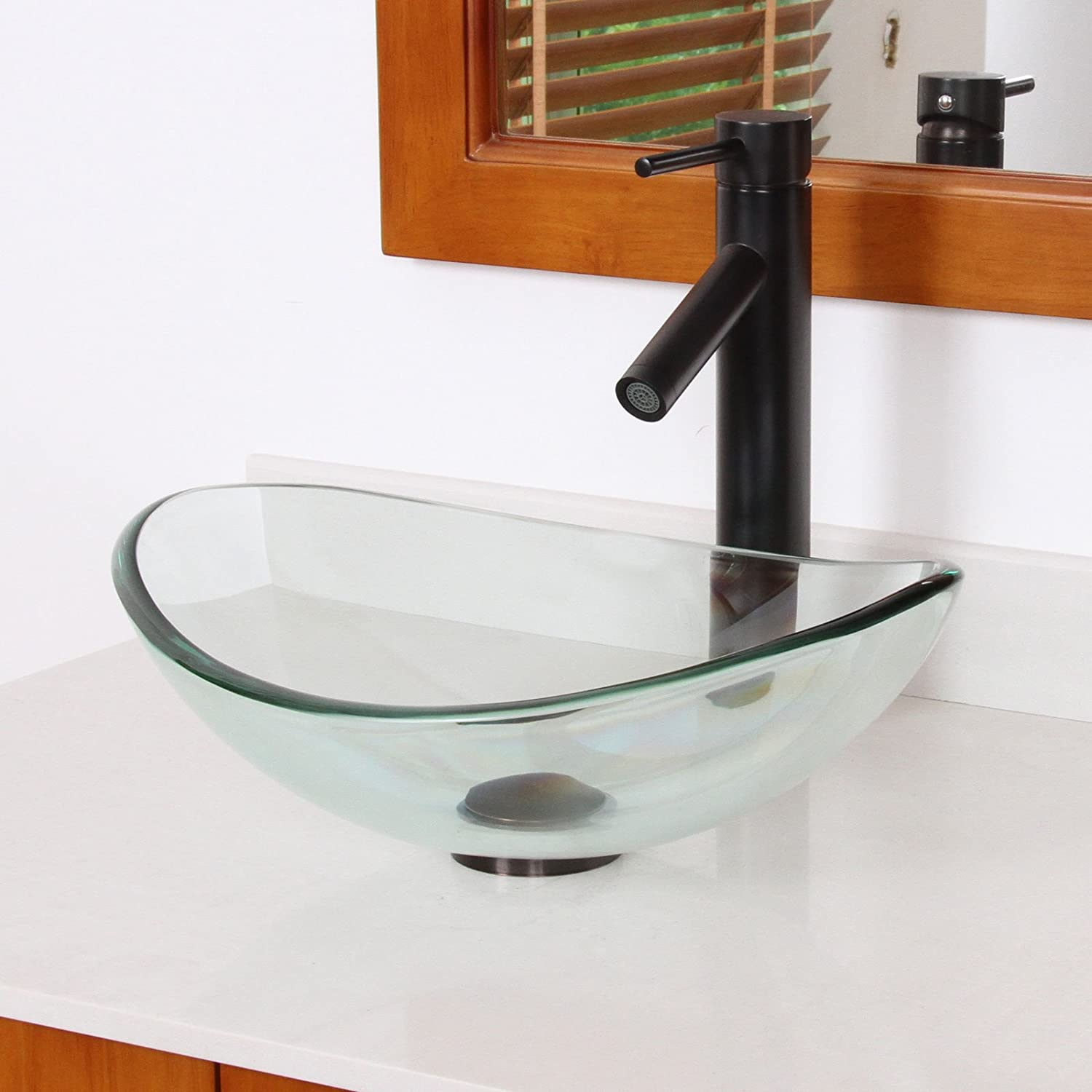 ELITE Unique Oval Clear Tempered Bathroom Glass Vessel Sink & Oil ...