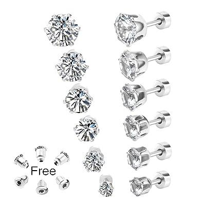 ebcac95bb Gorgeouser 20G Flat Back White Round-Cut Fake Diamond Stud Earrings for  Women or Men