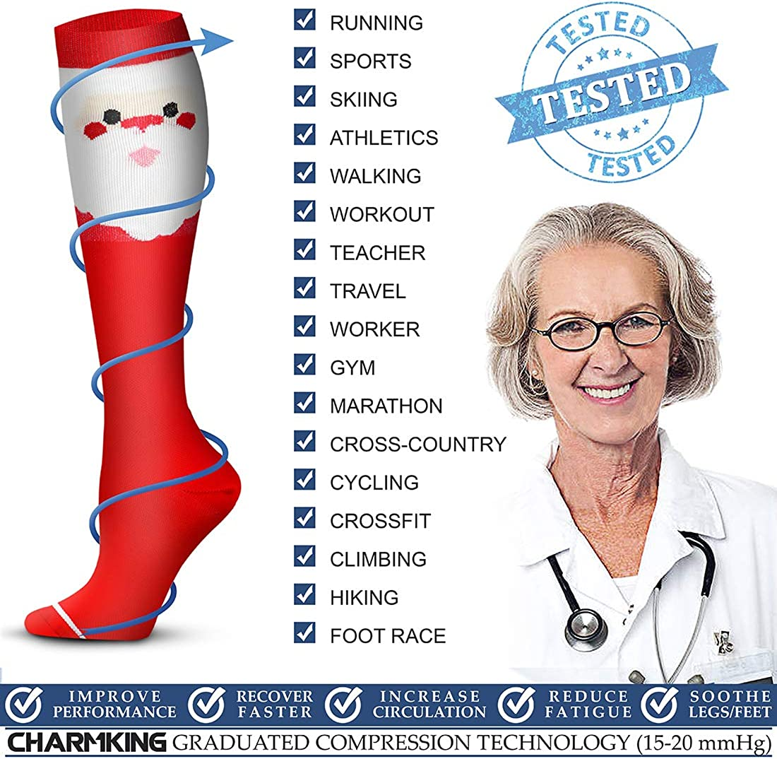 Running Climbing Copper Compression Socks 15-20 mmHg Circulation is Best Athletic /& Daily for Men /& Women 3 Pairs