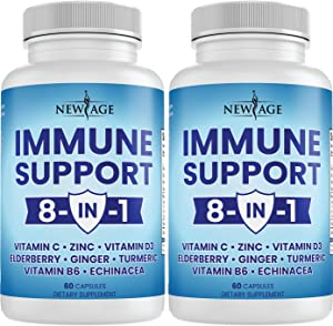 8 in 1 Immune Support Booster Supplement with Elderberry, Vitamin C and Zinc 50mg, Vitamin D 5000 IU, Turmeric Curcumin & Ginger, B6, Echinacea