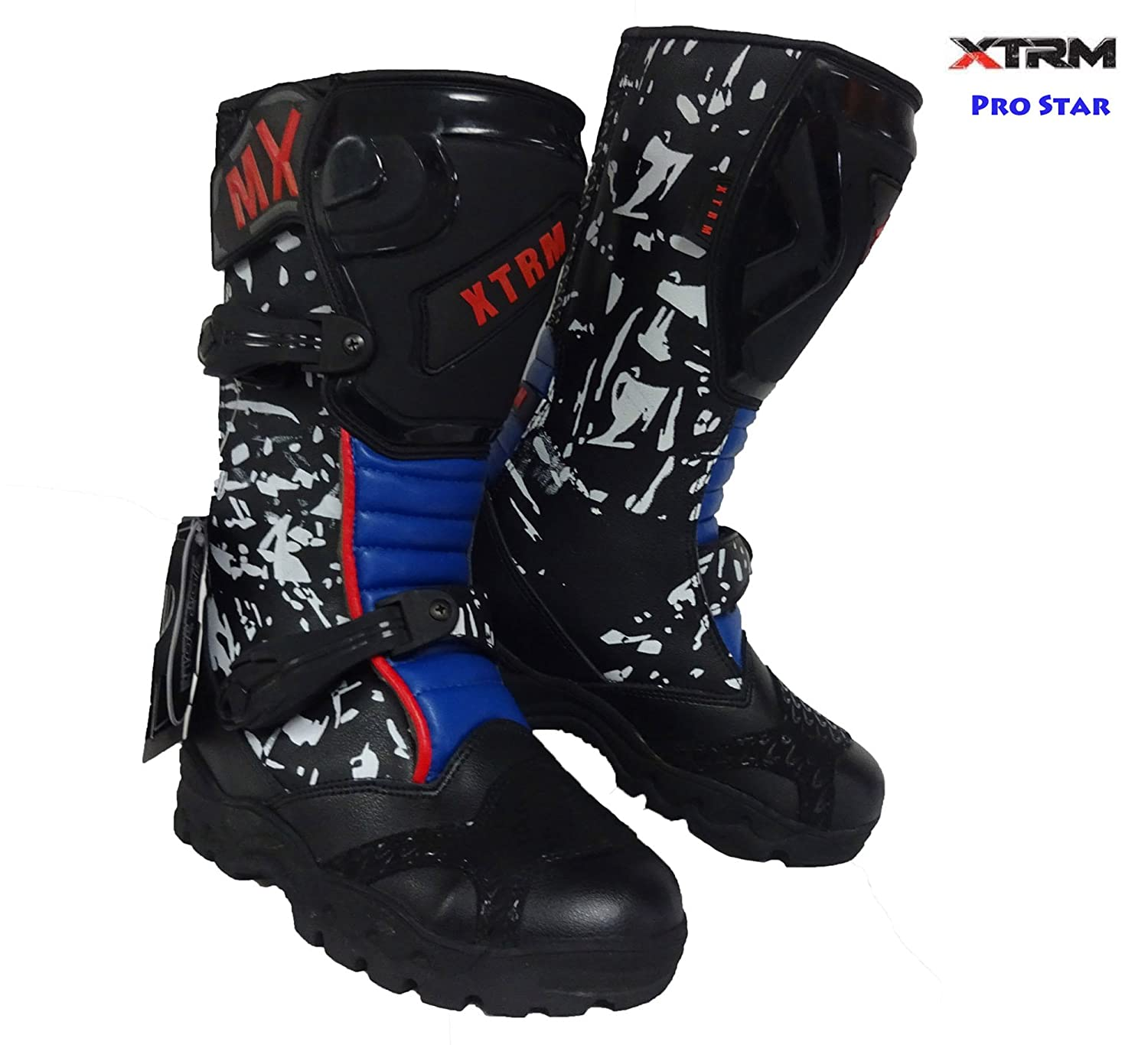 XTRM Kids Motocross Pro Star MX Off Road Blue Boots New 2018