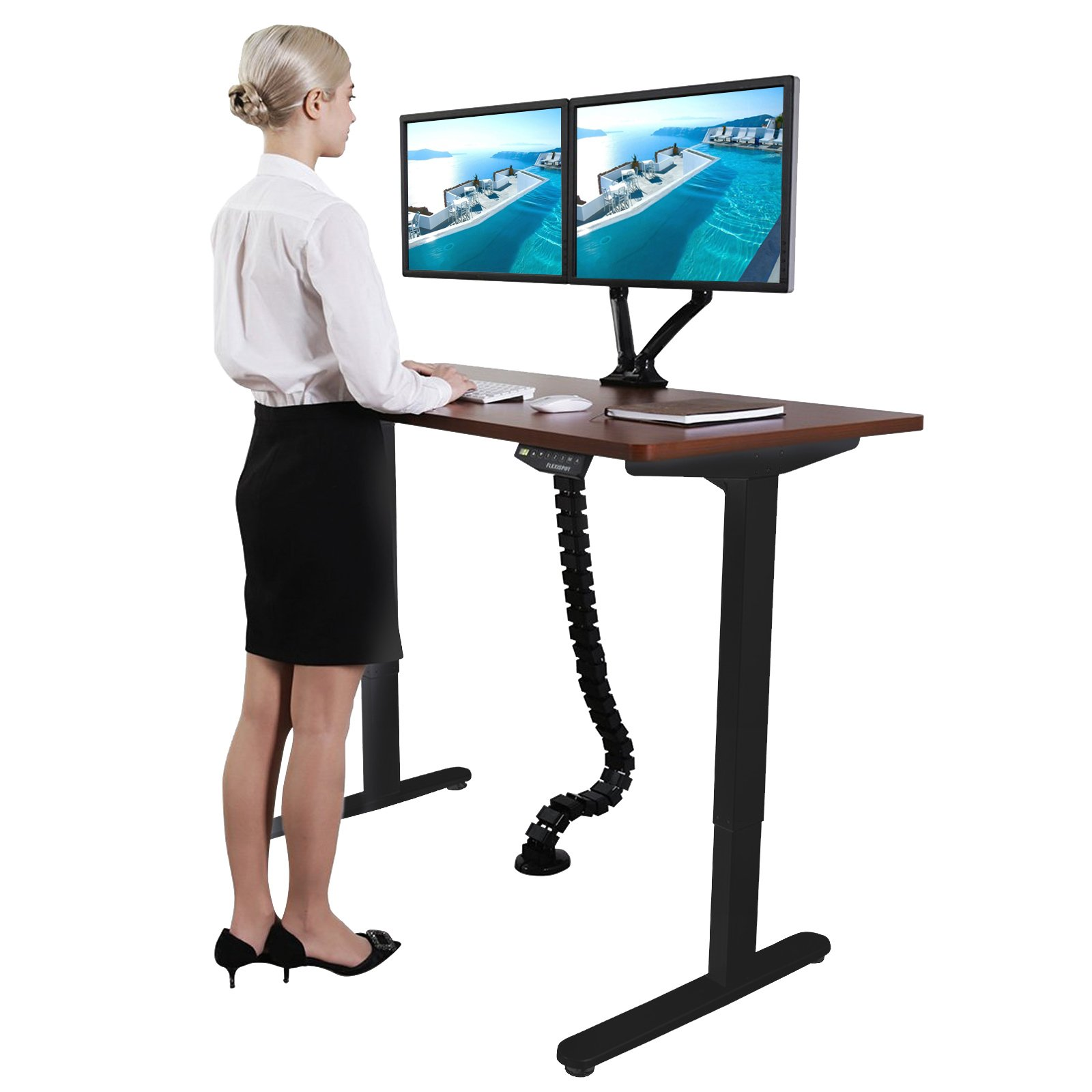 Superland Black Electric Stand Up Desk Frame DIY Workstation 27'' - 48'' Single Motor Ergonomic Standing Height Adjustable Base