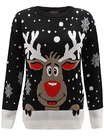 c2f0b2e264218 Envy Boutique - Sweat Unisexe Homme Femme Flocon de Neige Rodolphe Noël -  Noir, S