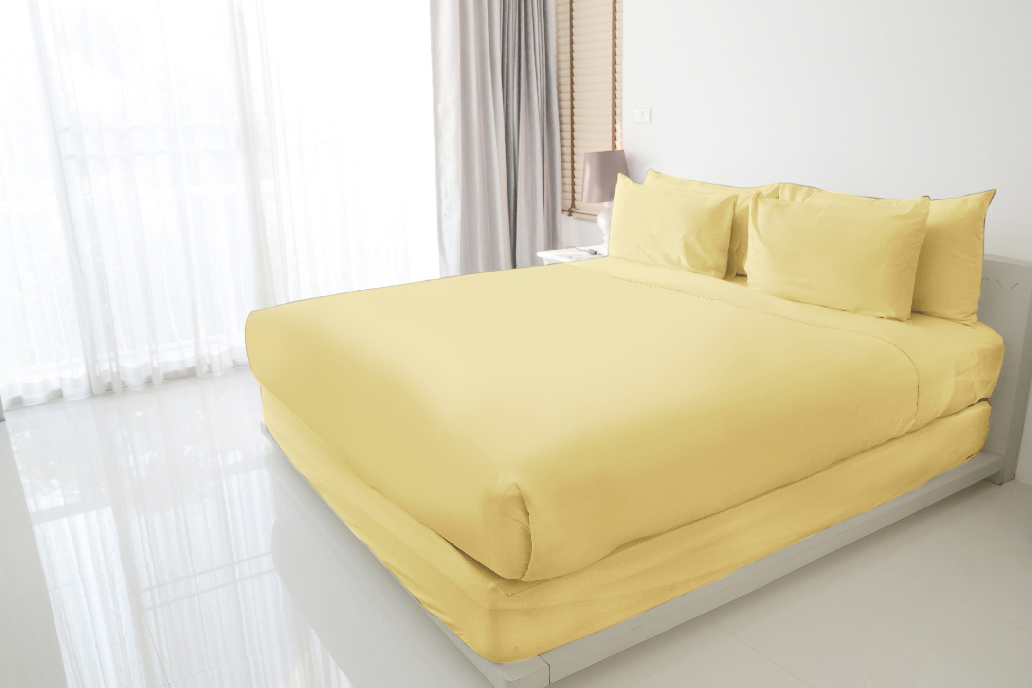 Luxuress 100% Long Staple Soft Cotton Sheet Set, Smooth Sateen Weave, 4 Piece Set, QUEEN SHEETS, 15'' Deep Pocket, Luxury Hotel Quality, SAFFRON