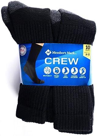 ea12b544194ac Member's Mark Men's Crew Socks Black Made in USA, Shoe Size 6-12, 10 Pairs  at Amazon Men's Clothing store: