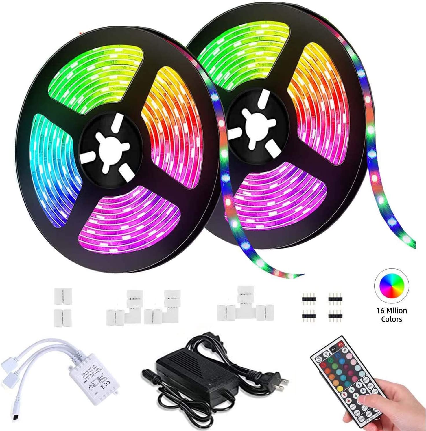 KeKeYM 15M//49.2ft Flexible Strip Light SMD 5050 RGB with Bluetooth Controller Changing Tape Lights kit with LED Sync to Music for TV Bedroom,Kitchen Under Counter,Under Bed Lighting LED Strip Lights