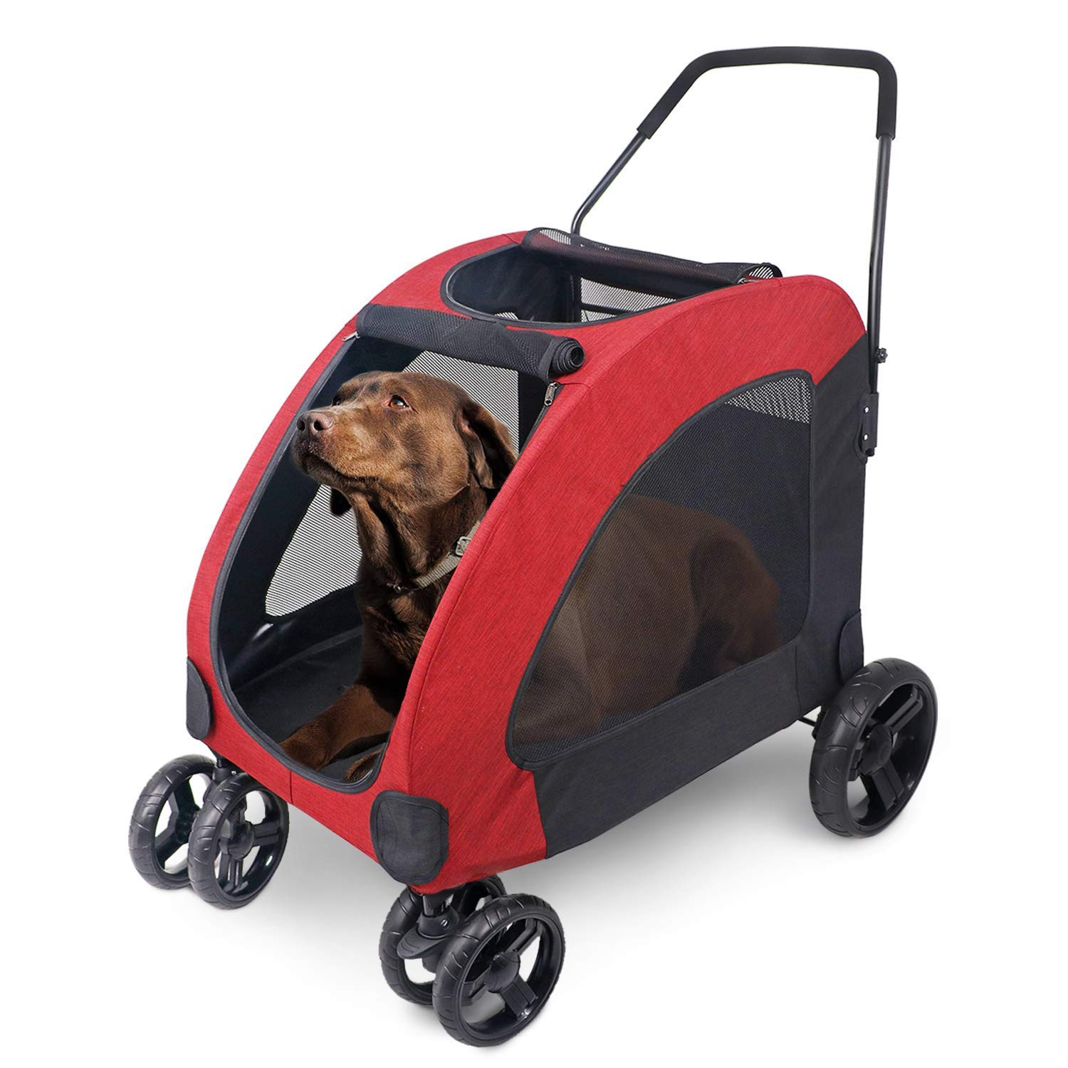 Pet Four-Wheeled Stroller Dog Trolley Cat Carts with Window Foldable for Medium Large Dogs Outgoing, Load Within 60Kg Red