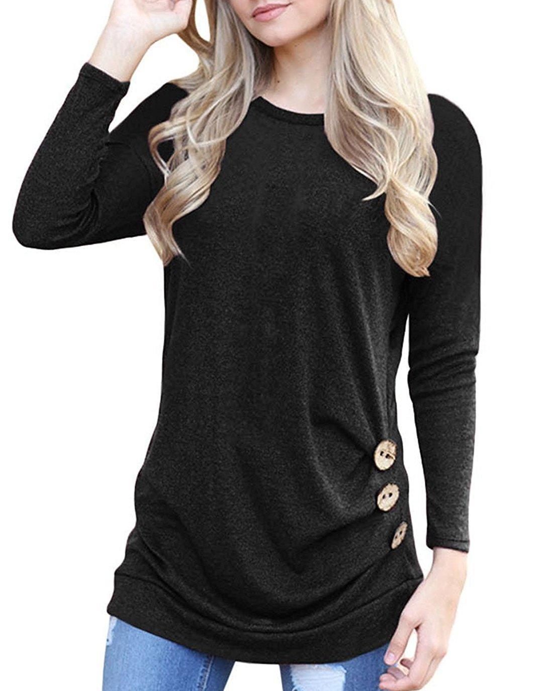 Doris Kids Women's Casual Tunic Top Sweatshirt Long Sleeve Blouse T-Shirt Button Decor Black M