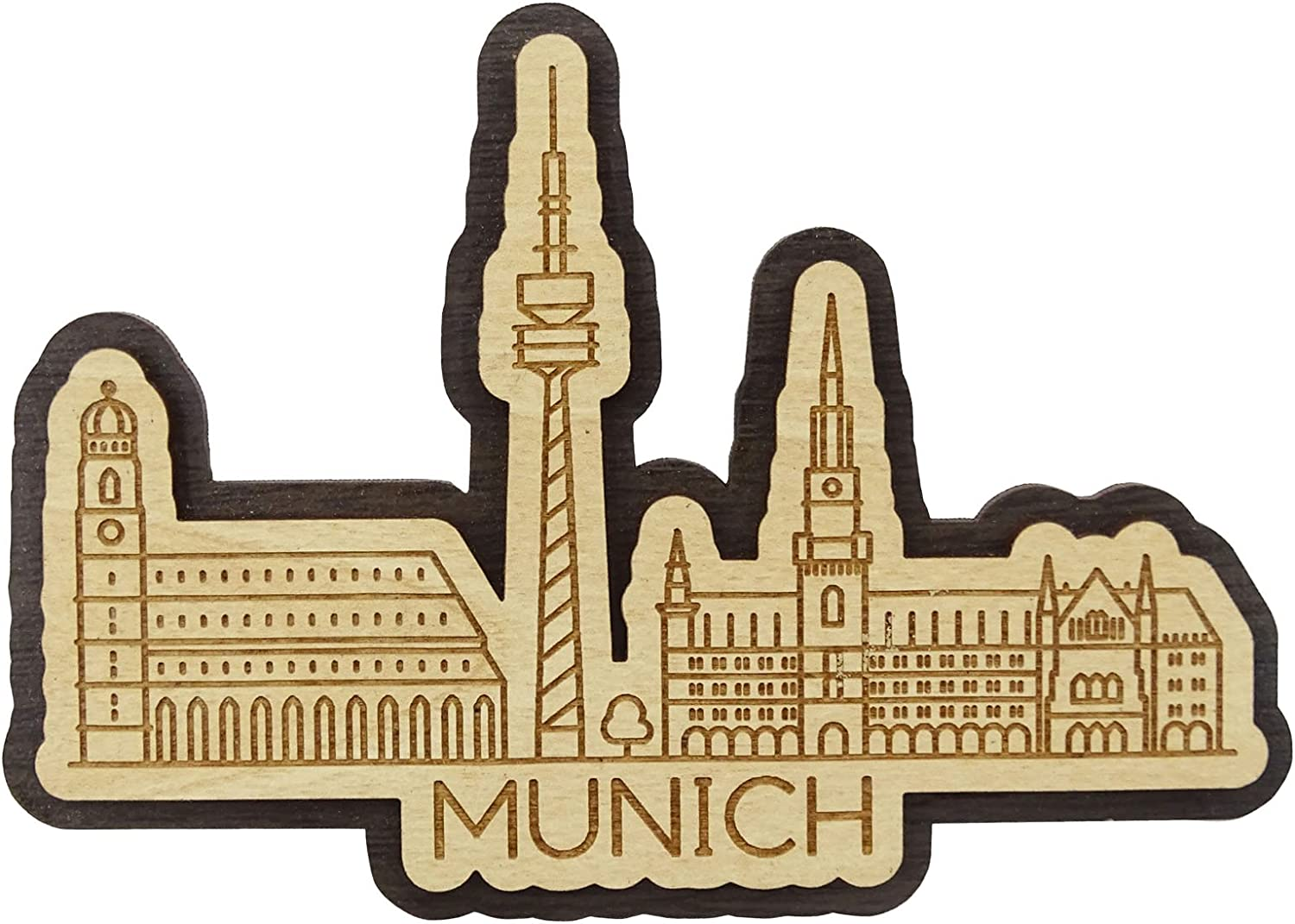 Printtoo Munich City Of Germany Engraved Fridge Wooden Souvenir Custom Fridge Magnet