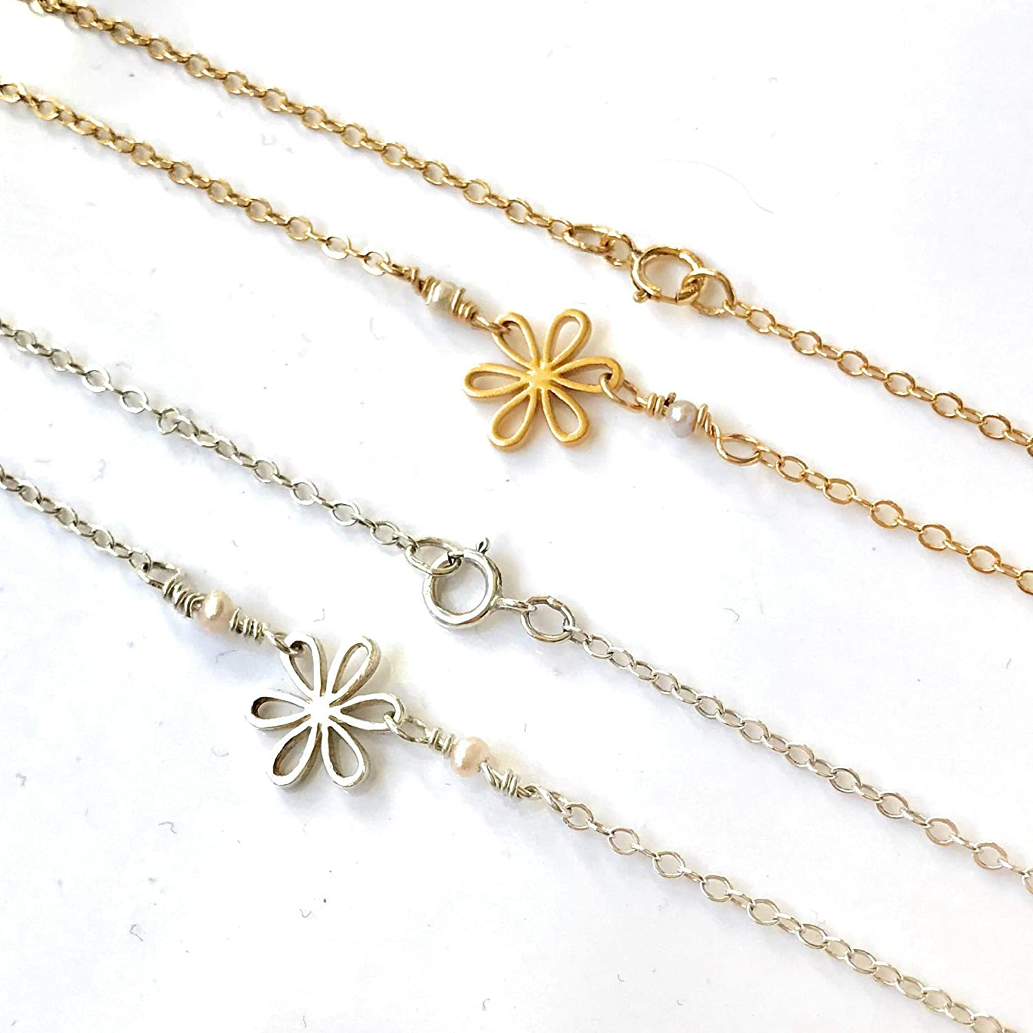 rose or white gold necklace solid 14k yellow Gold Daisy Spiral Flower pendant handmade in USA