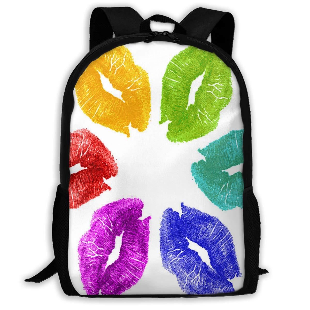 f36e7e26d294 Amazon.com | Backpack For Girls Boys Lipstick Kisses In Color Zipper ...