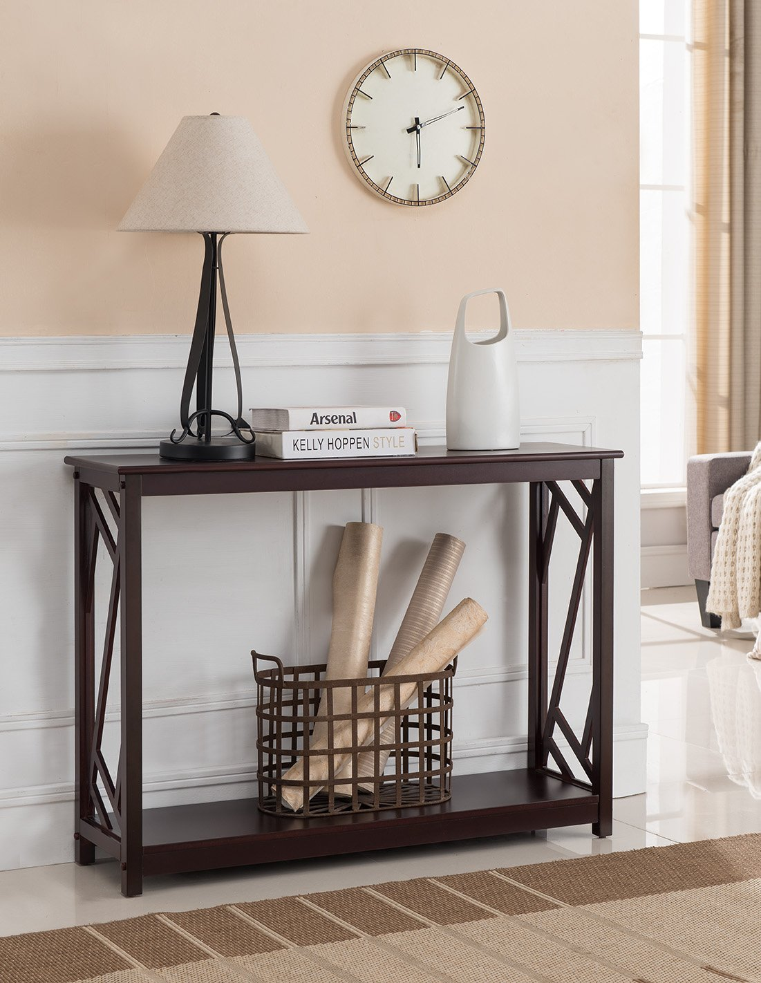 Kings Brand Furniture Wood Entryway Console Sofa Table, Dark Cherry