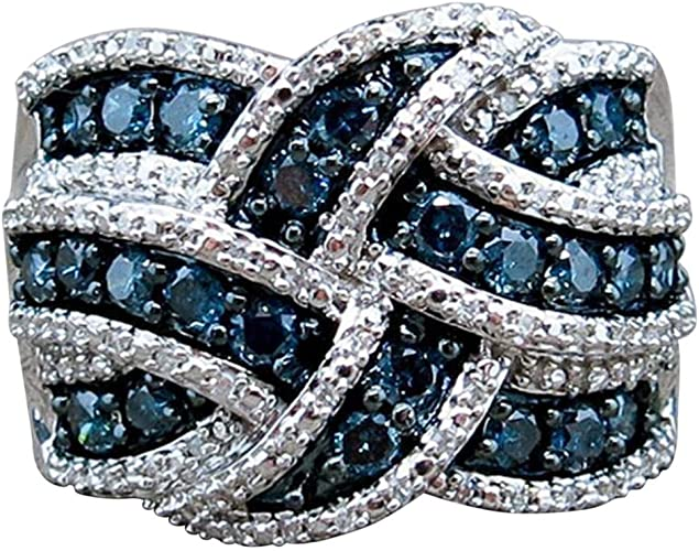 Infinity Women Wedding Rings 925 Silver Jewelry Blue Sapphire Ring Size 6-10