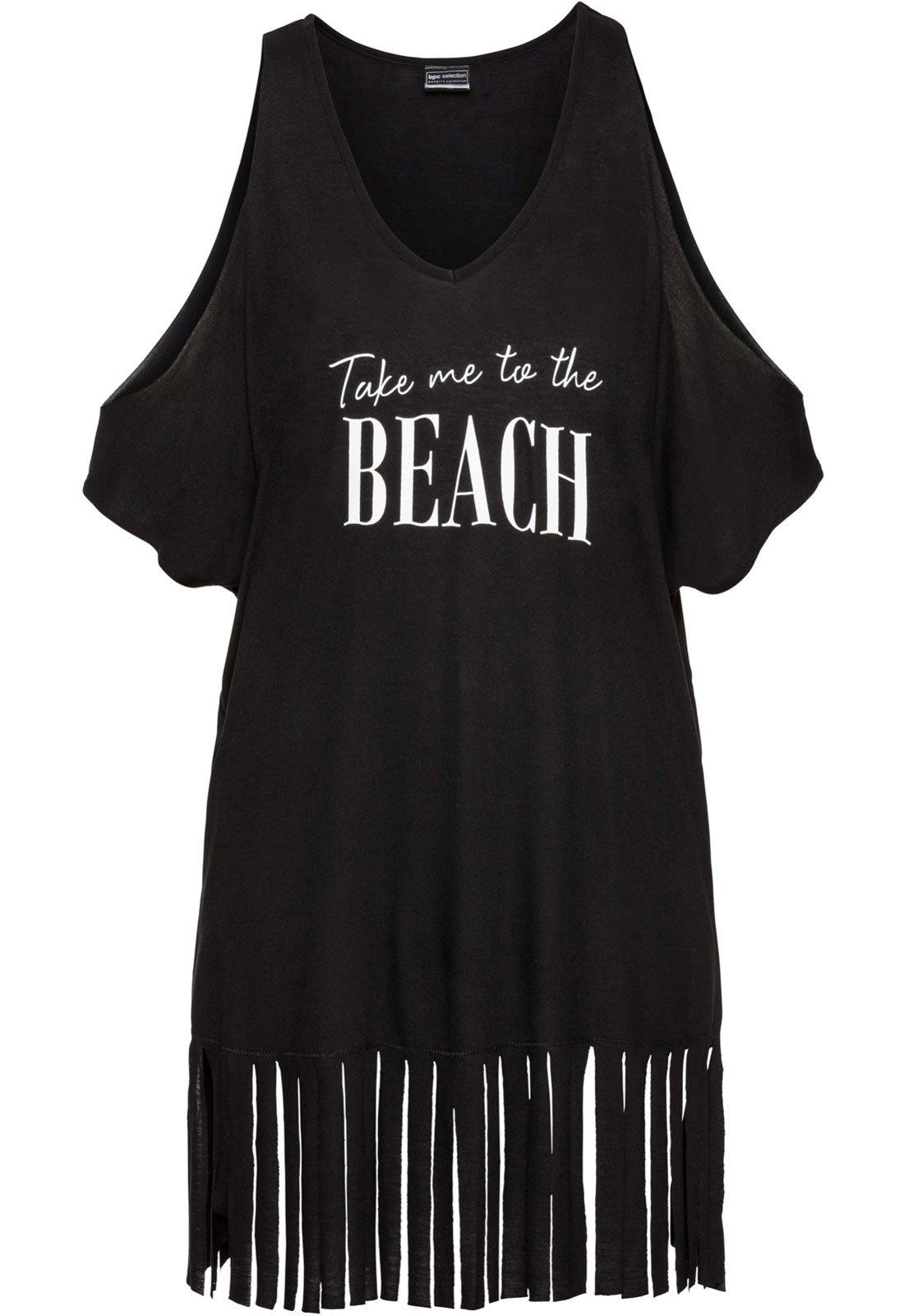 Rainlover Womens Letters Print Baggy Swimwear Bikini Cover-ups Beach Dress (BB-Black) by Rainlover (Image #3)