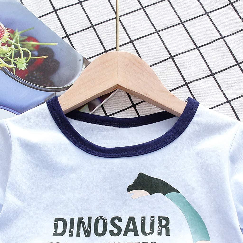 Mbby Tute di Dinosauro Bambino 1-9 Anni Completo Neonato 2 Pezzi Set Estate Primavera Maglietta Manica Corte Stampa Pantaloncini Tinta Unita Tuta Cotone Ragazzi Ragazzo