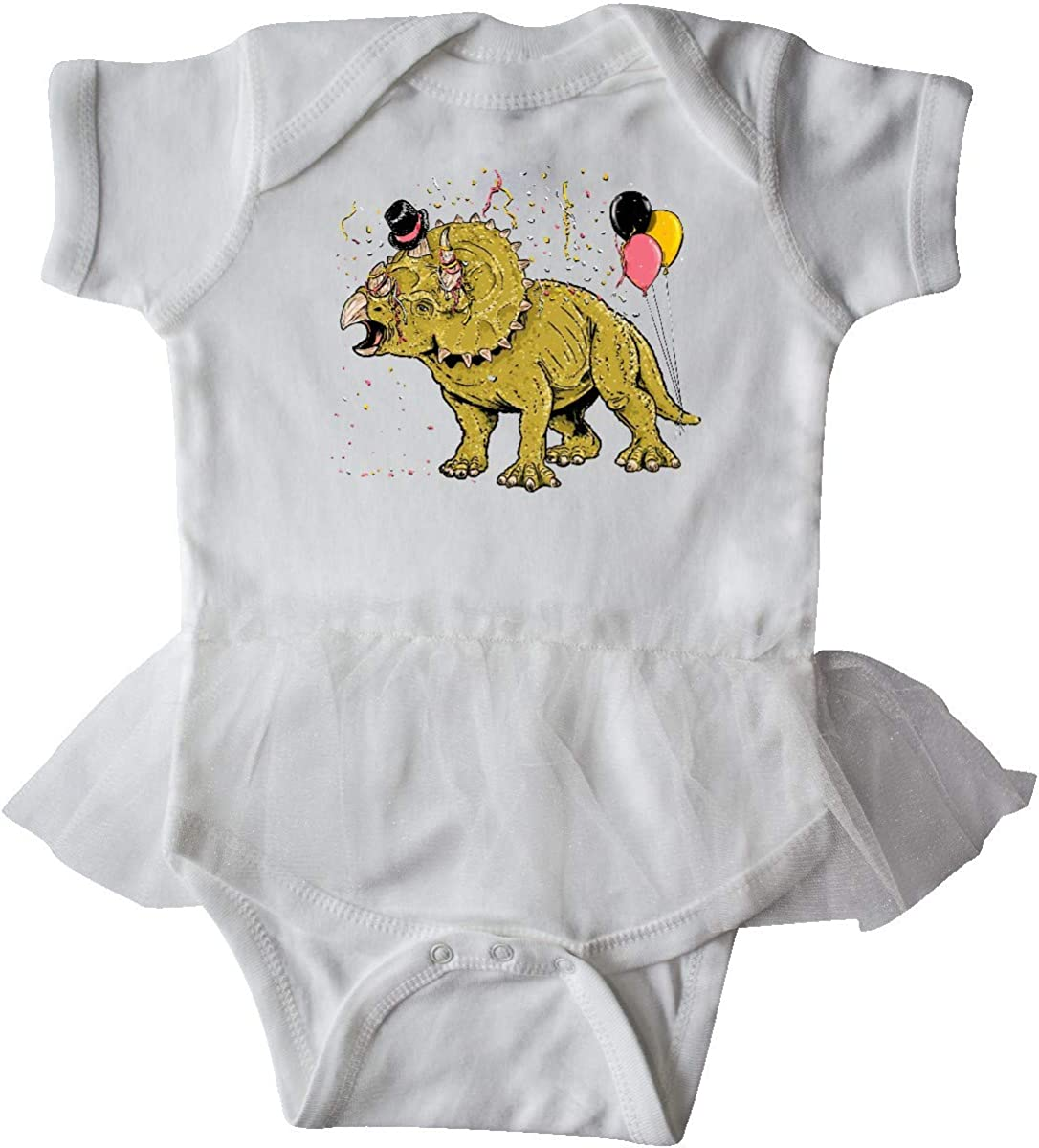 inktastic Roaring in The New Year Triceratops with Hat and Infant Tutu Bodysuit