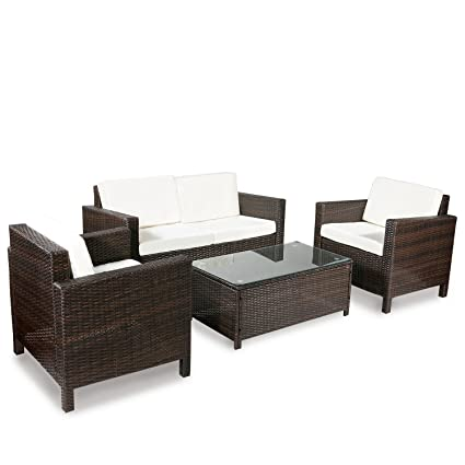 amazon com merax 4 pc outdoor rattan patio furniture set pe rattan rh amazon com Rattan Outdoor Furniture Sale pe rattan patio furniture