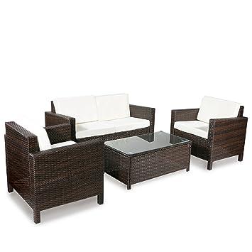 merax 4 pc outdoor rattan patio furniture set pe rattan wicker sofa set garden lawn sofa