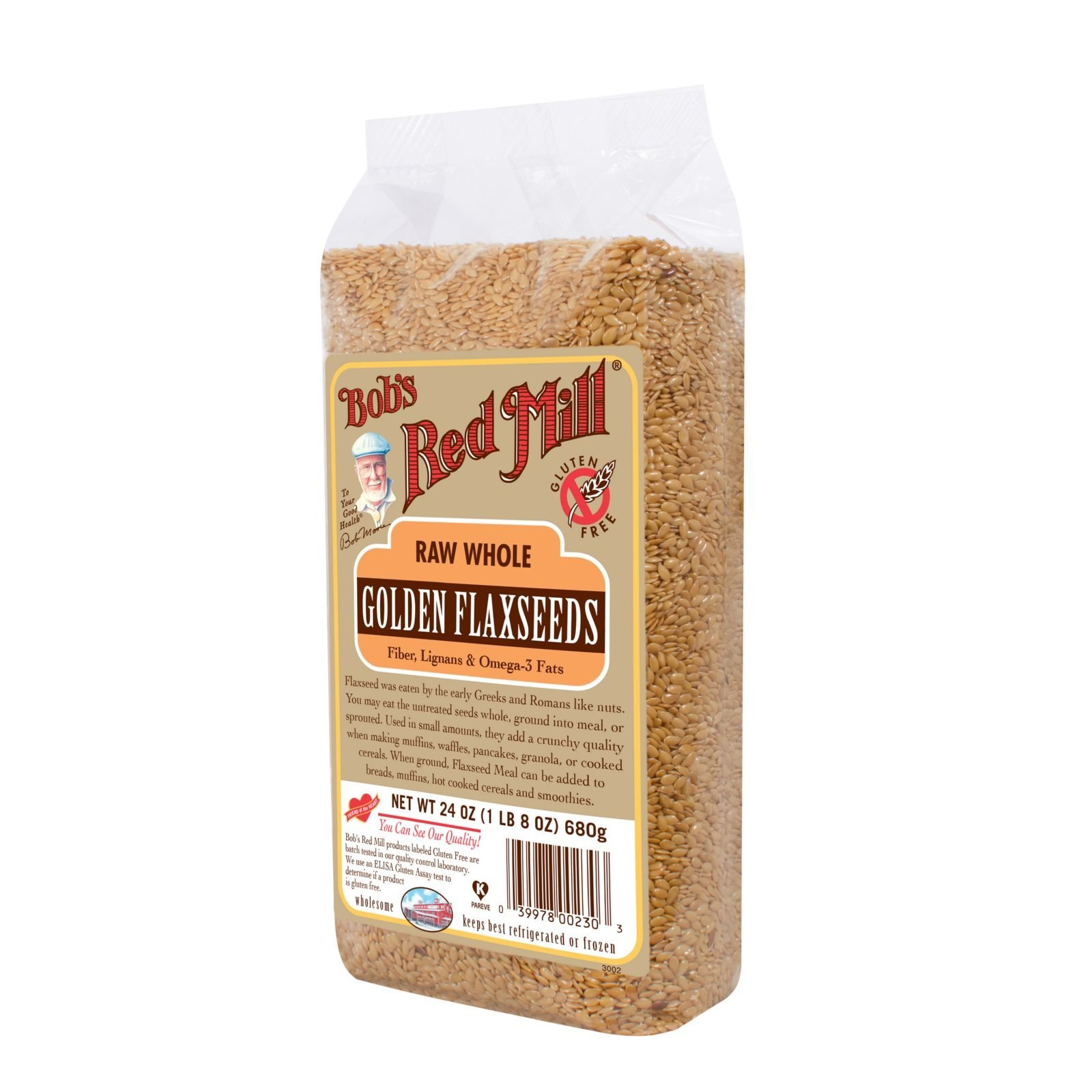 Bobs Red Mill Raw Whole Golden Flaxseed - 24 oz - Case of 4 - Gluten Free - Dairy Free - Wheat Free - Vegan