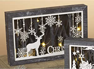 LED Lighted Laser Cut Wood Framed Woodland Deer Christmas Decoration with Snowflake Accents - Light Up Holiday Reindeer Sign - Winter Wall Art Decor