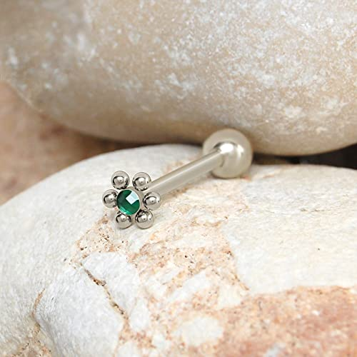 Barbell earring. Surgical steel tongue piercing Barbell tongue Tongue ring 14g