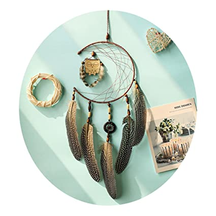 Amazoncom Qingsm Handmade Owl Ins Style Dream Catcher Home Hanging