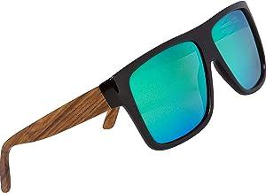 Woodies Zebra Wood Aviator Wrap Sunglasses with Polarized Lenses