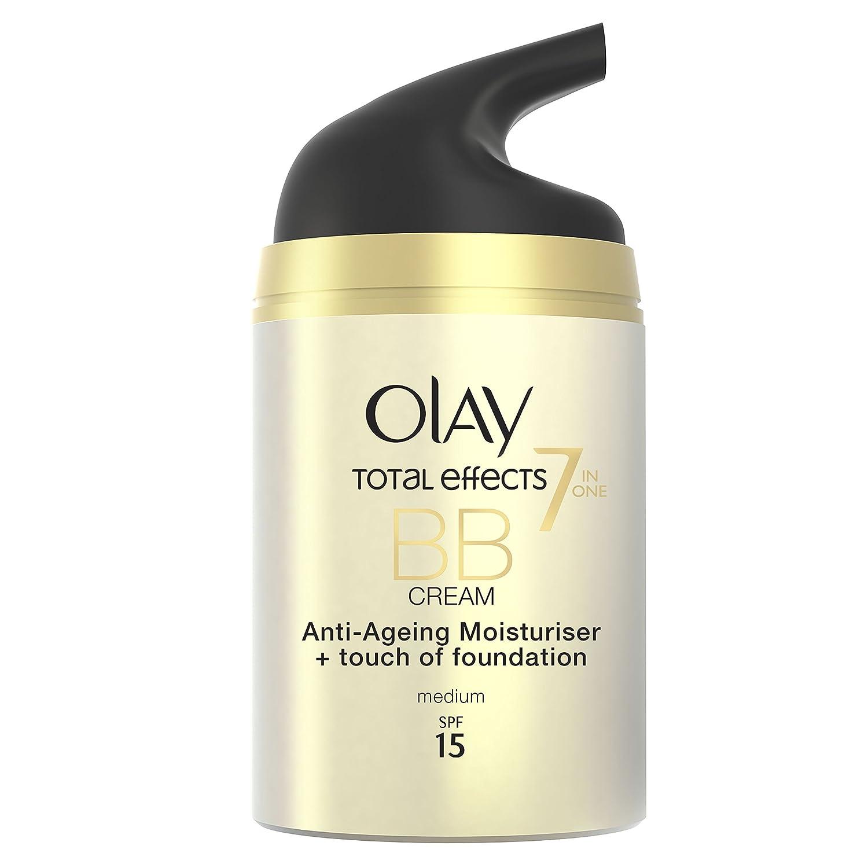 Olay Total Effects Crema Hidratante y Maquillaje Spf 15 Medio - 50 ml: Amazon.es: Belleza