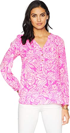 1f5b5d606af55 Lilly Pulitzer Women s Printed Elsa Top Bougainvillea Pink Pawsitive  Cattitude Small