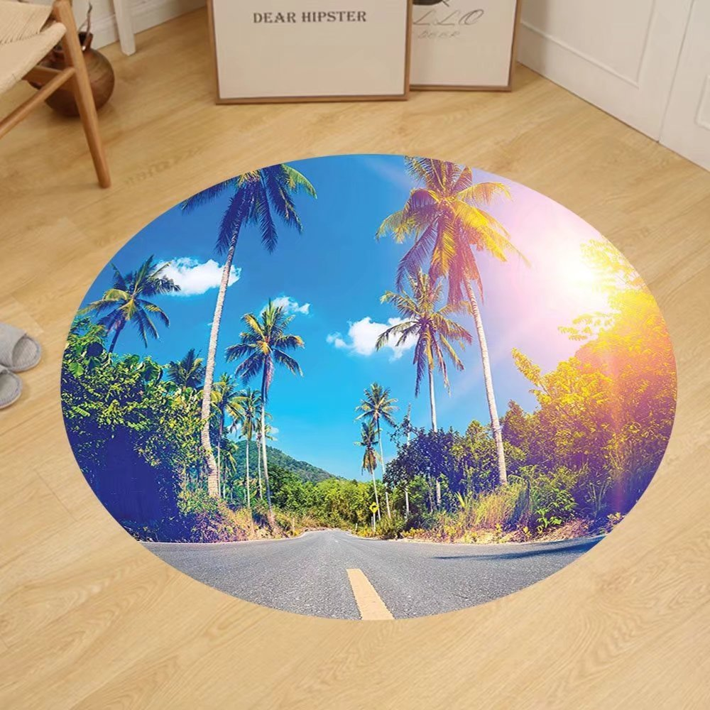 Gzhihine Custom round floor mat Dorm Room Palm Trees Summer Joy Clouds Nature Tropical Beach Art Sun Fabric Room Dividers College Dorm Exotic Throws Bedroom Decor Blue Green Yellow
