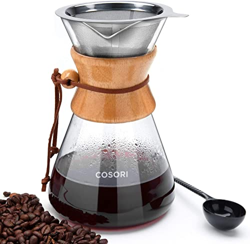 COSORI Pour Over Coffee Maker, 8 Cup Glass Coffee Pot&Coffee Brewer with Stainless Steel Filter
