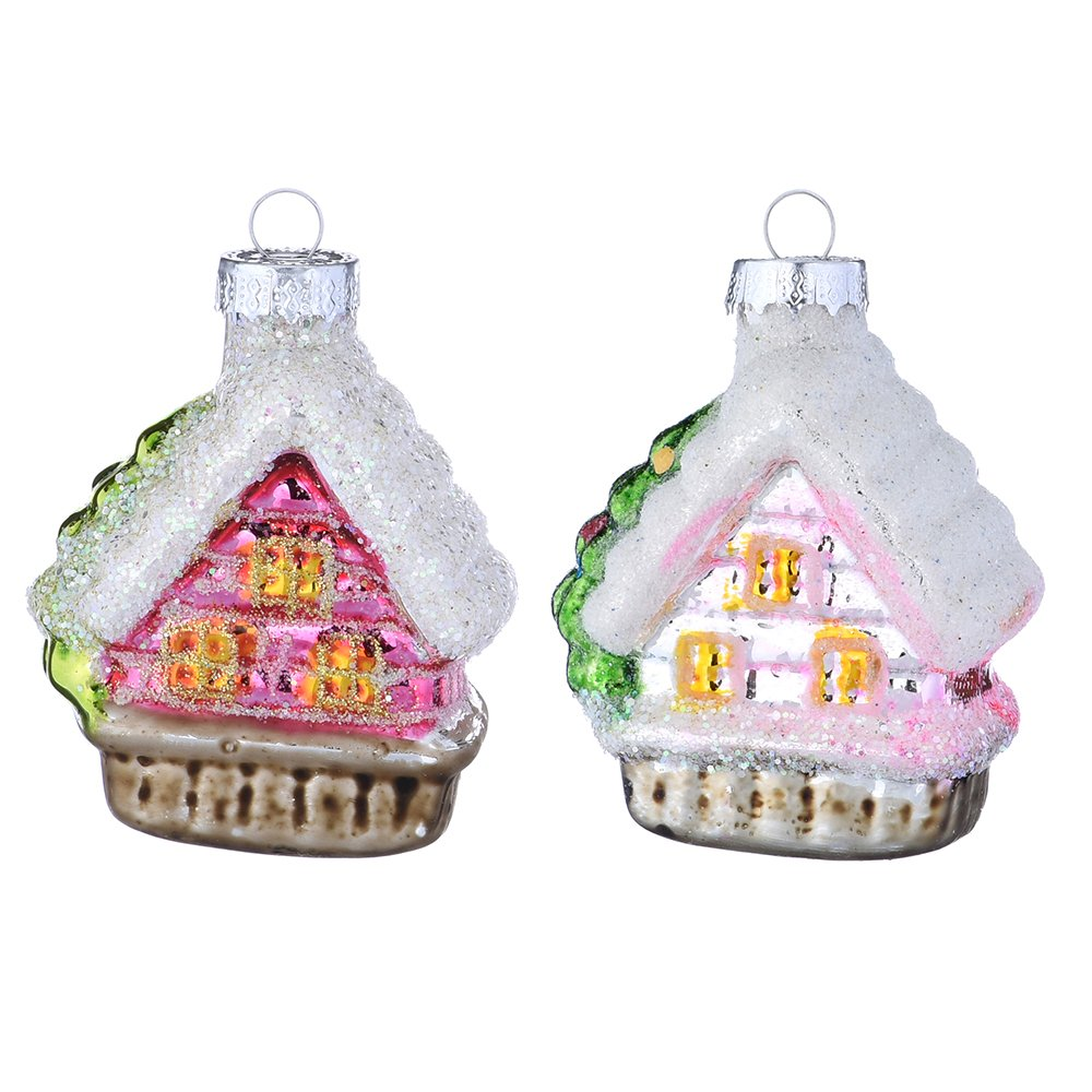 Set Of 2 Hand Painted Christmas Ornaments Blown Glass House Ornaments