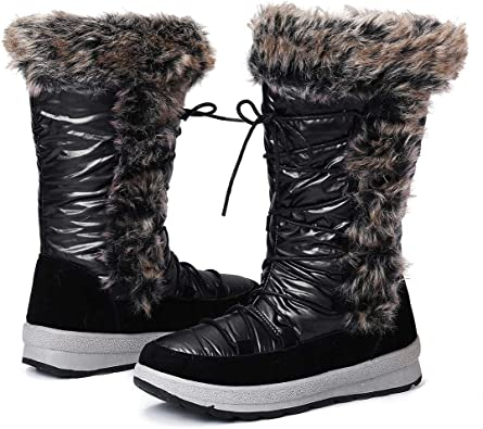 CYBLING Womens Winter Snow Boots Warm Fur Lined Ankle Booties Side Zipper Suede Outdoor Anti-Slip Comfortable Shoes