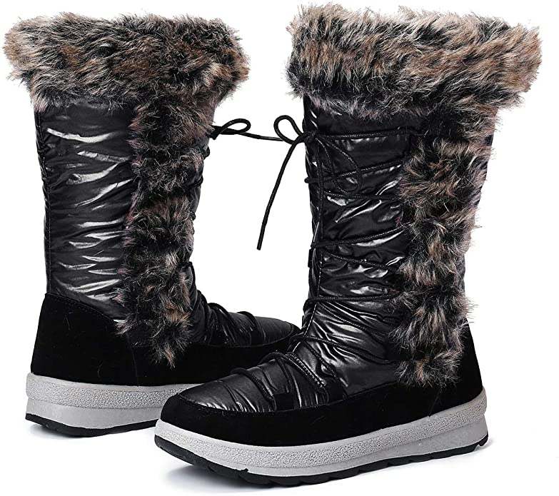 gracosy Knee High Boots for Women Long Boot Handmade Suede Leather Winter Anti-Slip Mid Calf Bootie Warm Fur Lined Side Zipper Block Flat Snow Boots
