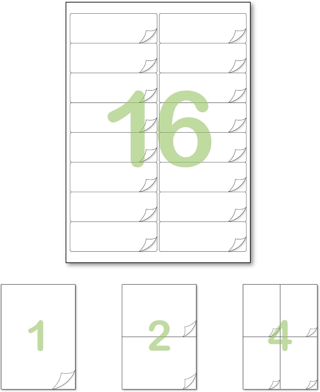 Gluetack –Etiquetas Adhesivas 99'1 x 33'9mm (A4) – Papel de Pegatina para Imprimir con Adhesivo Superpermanente y Fácil Despegue Vertical–50 Folios Adhesivos–16 Etiqueta/Hoja–800 Etiquetas