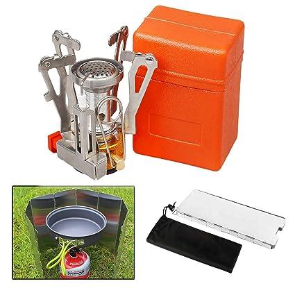 Amazon.com: Mini estufa de acampada y parabrisas, X.Store ...