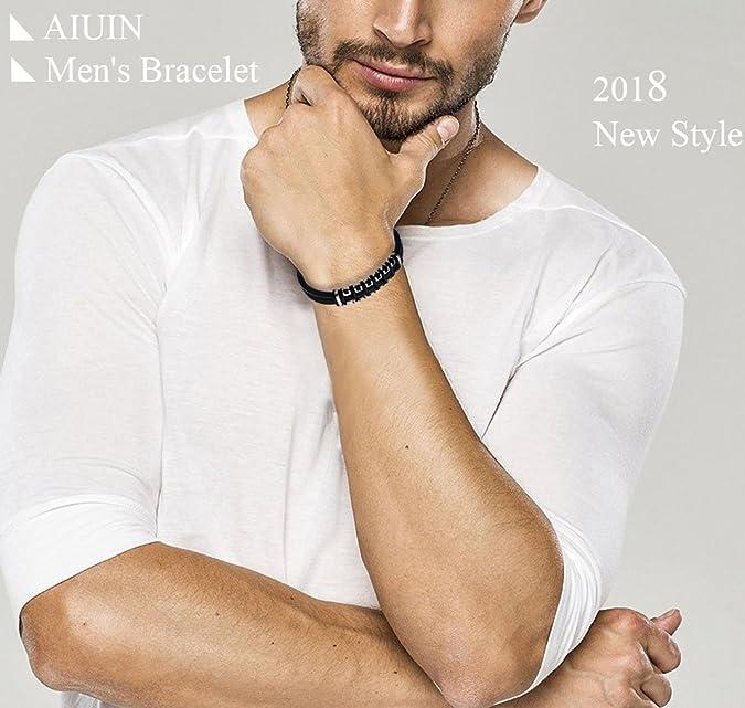 Biker bracelet en caoutchouc aiuin Schmuck Bracelet en acier inoxydable pour hommes Partner Bracelet payday motif La Grande Muraille de Chine