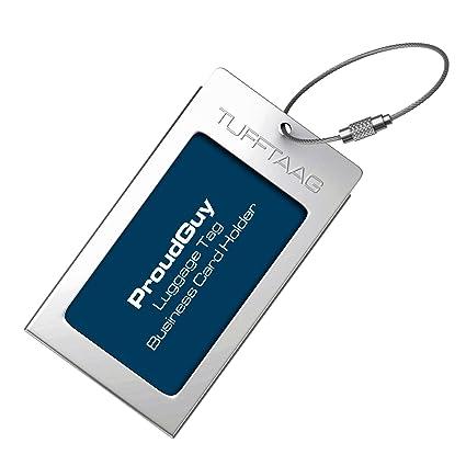 Etiqueta de Equipaje Titular de Tarjeta de Negocio TUFFTAAG por ProudGuy - Etiqueta de Aluminio Resistente para Equipaje de Mano, Identificacion de ...