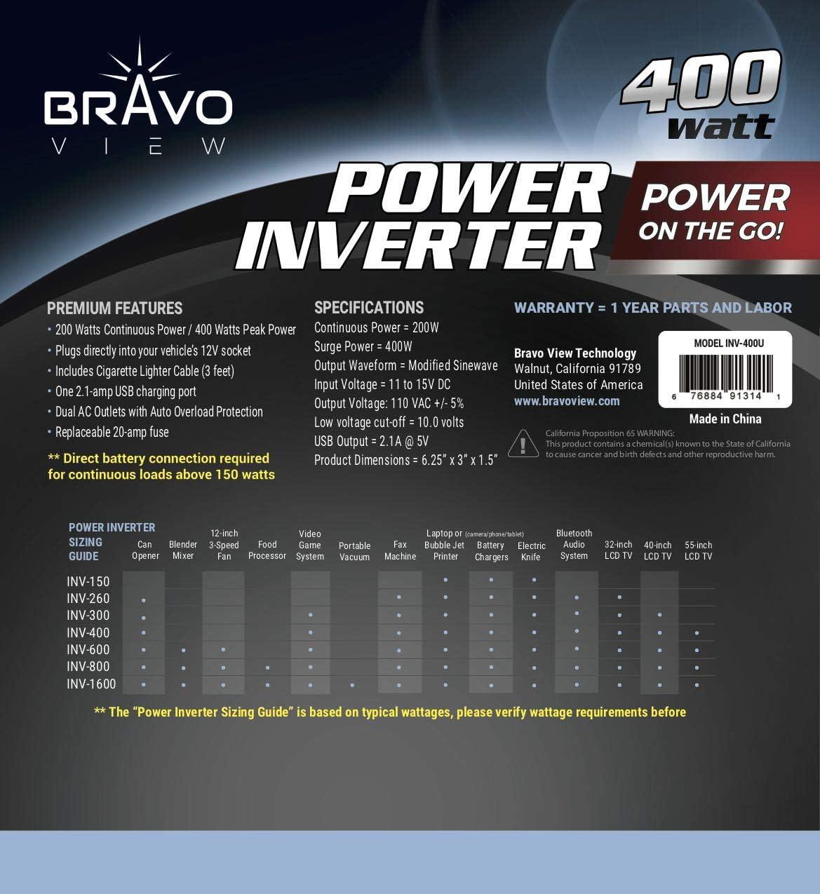 Bravo View INV-400U 400-Watt Power Inverter with USB Charging