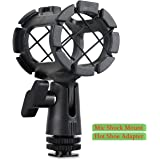 Eggsnow Microphone Shock Mount Clip Universal Mic Holder Stand + Hot Shoe Adapter Anti Vibration for AKG D230/Senheisser ME66/Rode NTG-2/NTG-1/Audio-Technica AT-875R
