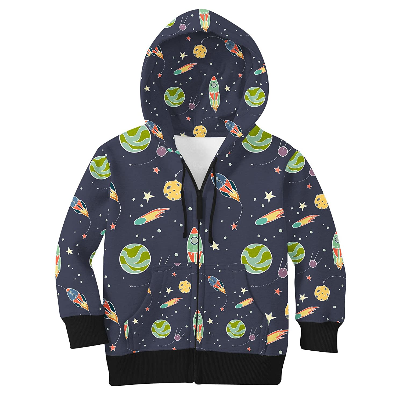 Space Flight Kids Zip Up Hoodie Unisex