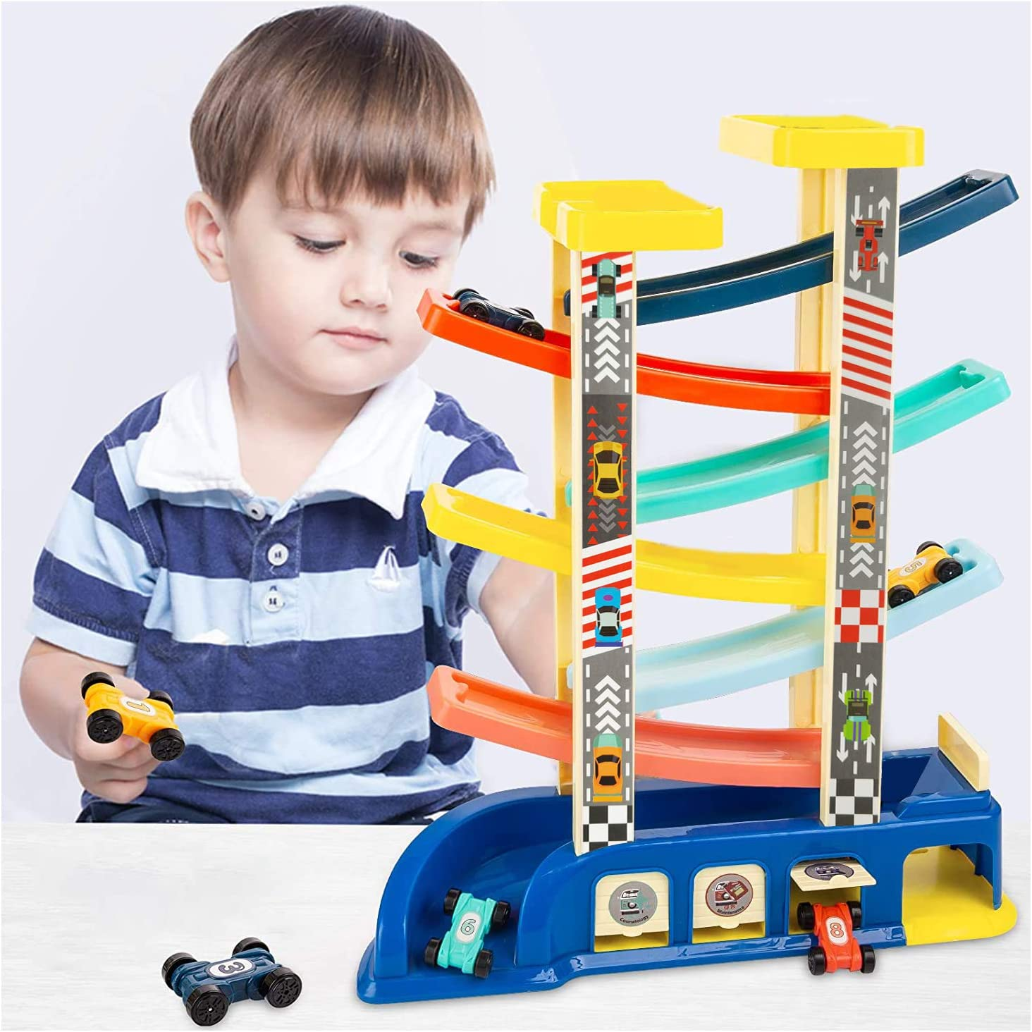 Car Ramp Racer Toy Vehicle Set with 6 Cars YUEPEACO Toddler Toys Race Track Preschool Educational Toy Car Track Playsets Gifts for 1 2 3 Year Old Kids Toddler Boy and Girls