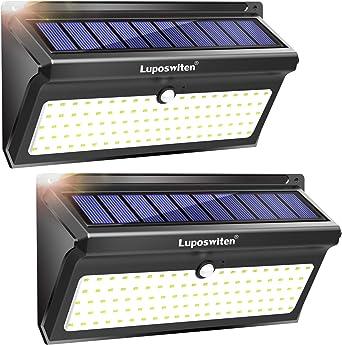 Focos Solares, Luposwiten 100 LED Lamparas Solares Exterior, 2000LM Luz Solar Exterior con Sensor de Movimiento, 2400mAh Luces Solares para Jardins, Garaje, Acera, Escaleras(2 Pieza): Amazon.es: Iluminación