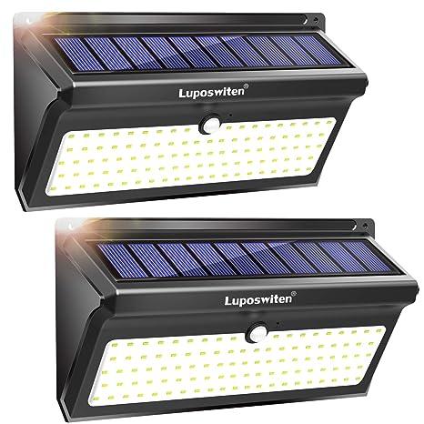 Focos Solares, Luposwiten 100 LED Lamparas Solares Exterior, 2000LM Luz Solar Exterior con Sensor de Movimiento, 2400mAh Luces Solares para Jardins, ...
