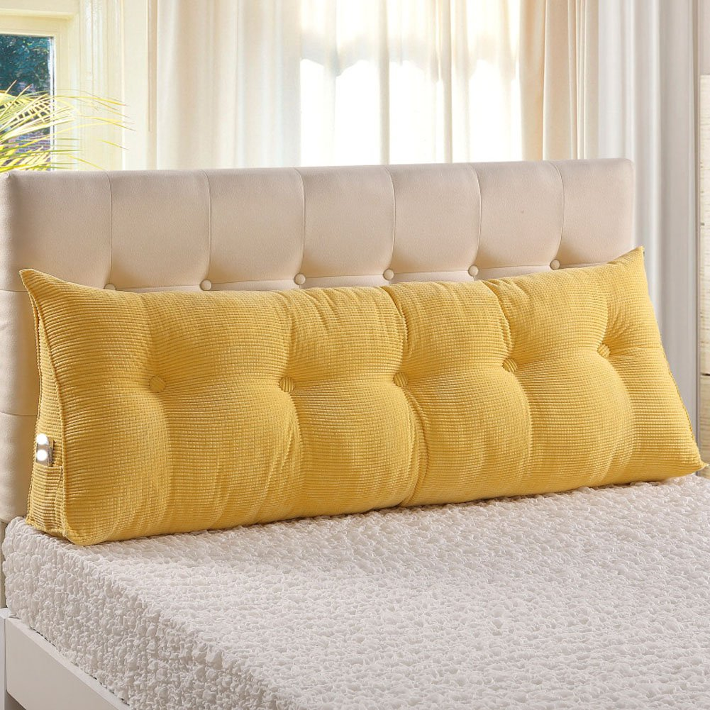 VERCART Sofa Bed Large Filled Triangular Wedge Cushion Bed Backrest Positioning Support Pillow Reading Pillow Office Lumbar Pad with Removable Cover Yellow 39x7.9x19inch