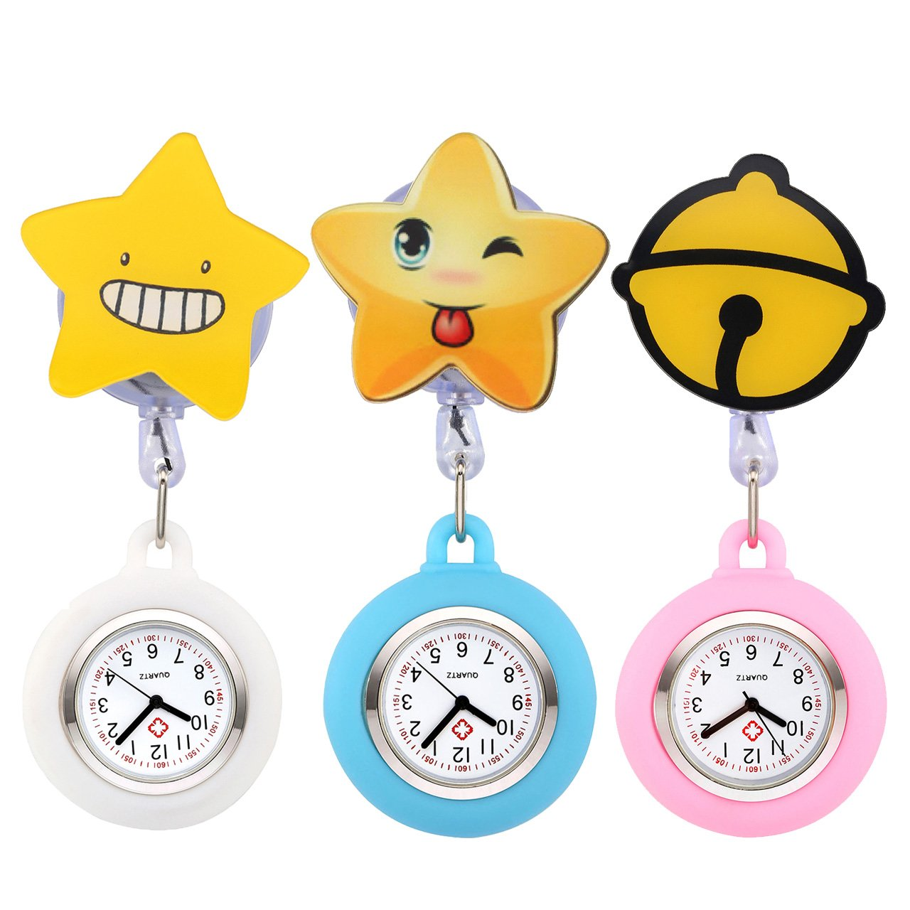 Top Plaza 3 Pcs Girls' Kid's Cute Lovely Cartoon Pattern Silicone Nurse Clip-on Fob Brooch Hanging Easy Pull Clasp Stretch Analog Quartz Pocket Watches #1