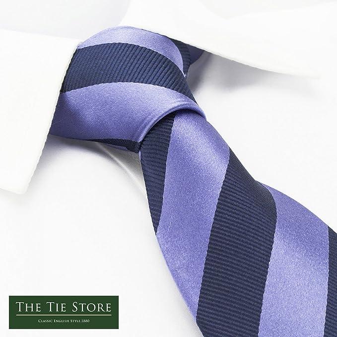 The Cufflink Store Corbata de seda, diseño de rayas, color lila y ...