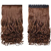 """REECHO 20"""" 1-Pack 3/4 Full Head Curly Wave Clips in on Synthetic Hair Extensions Hairpieces for Women 5 Clips 4.6 Oz per Piece - Medium Warm Brown"""