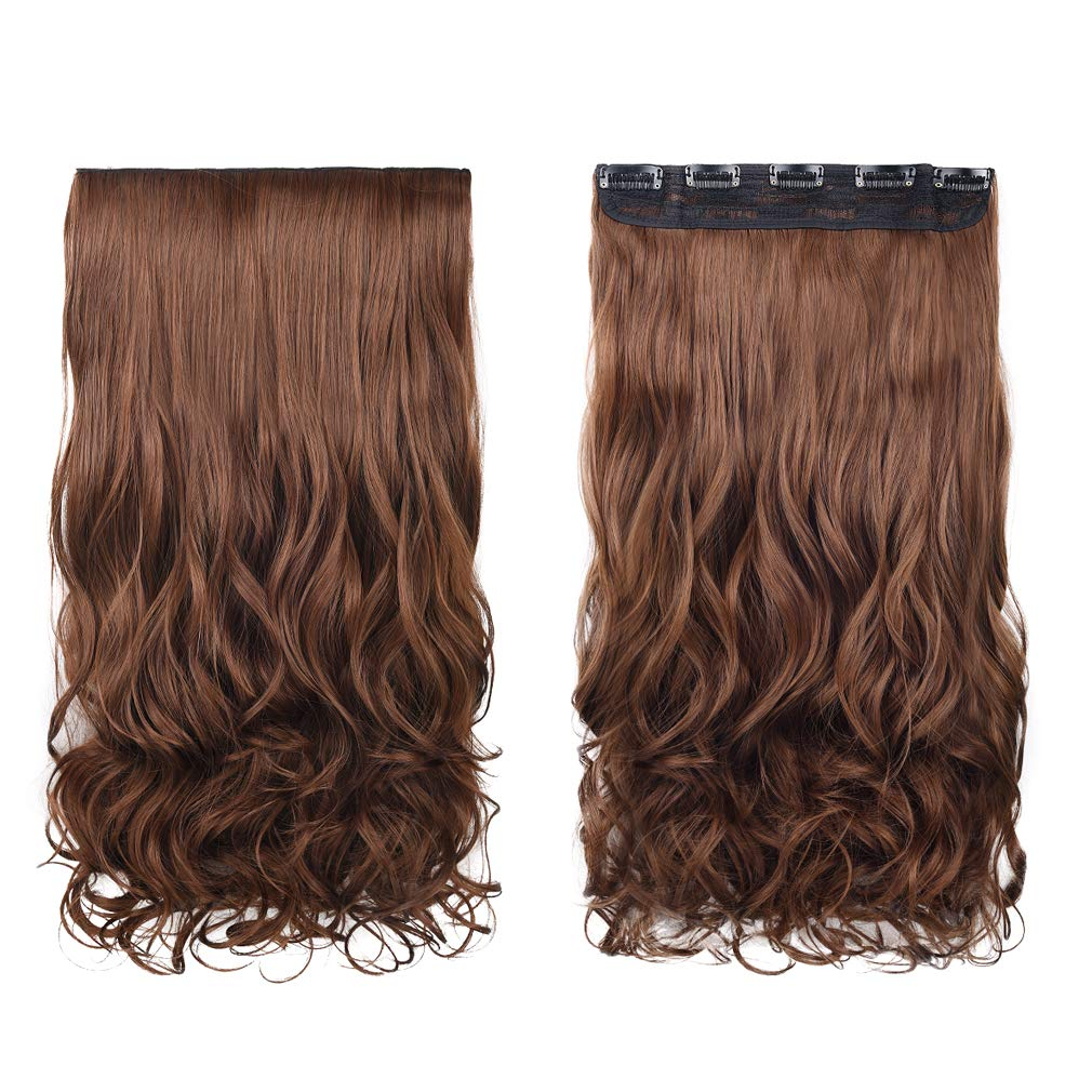 "REECHO 14"" 1-Pack 3/4 Full Head Curly Wavy Clips in on Synthetic Hair Extensions Hairpieces for Women 5 Clips 3.6 Oz per Piece - Medium Warm Brown"