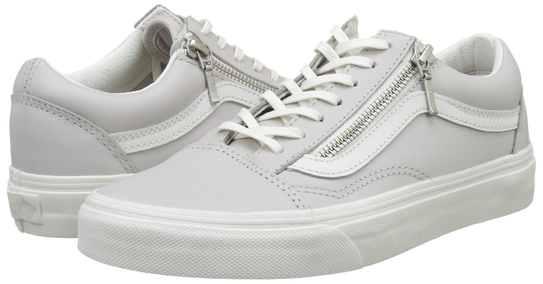 Vans Damen Ua Old Skool Zip Sneakers Grau Grau Sneakers (Leder Wind Chime/Blanc De Blanc) 5df2ee